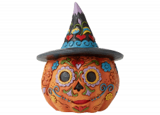 Day of the Dead Jack-o-Lantern with Witch Hat