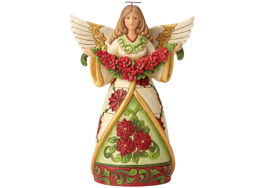 Heartwood Creek: Winter Beauty In Bloom (Angel with Poinsettia Garland)
