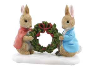 Beatrix Potter: Peter Rabbit and Flopsy Holding Holly Wreath